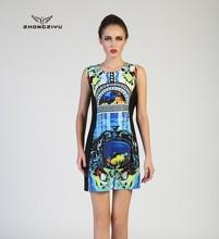 vestido estampado de colocación portátil para mujeres con estilo