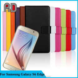 High Quality Retro Flip Wallet Genuine Leather Cheap Mobile Phone Cases for Samsung Galaxy S6 Edge