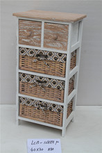 2015 Fashionable small furniture wooden cabinet with wicker drawers