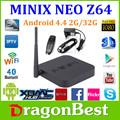 2015 la mejor tv caja minix neo z64 serie z64a android tv box procesador intel atom z3735f