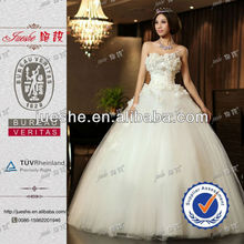 Real Pictures Of Beautiful Flowers Appliqued Empire Waist Bride Wedding Dress Pattern