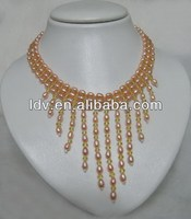 Natural freshwater pearl three layers chunky orange seed beaded fashion necklaces