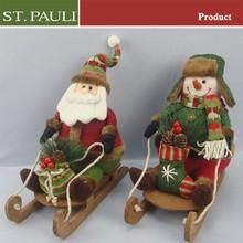Christmas decoration outdoor santa&snowman in sleigh w/gift