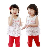 Suit Pant Coat Children Girl Polka Dot Suits Short Sleeve Ruffle Outfits From Factory Children Kids Baba Suit