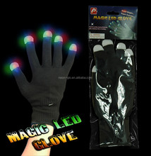 Fashion multi-color LED Skeleton Gloves mitten Light Up Flashing Finger Lighting Glow in the dark halloween gift
