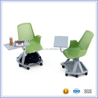 Plastic School Chair with Writing Pad / Board / Tablet and Book Basket Base
