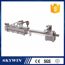 Double line 2+1 chocolate/jam/cream filling biscuit sandwiching connect packaging machine