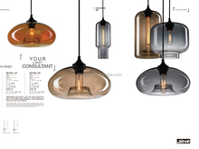 modern colored edison led hand blown glass kitchen island pendant lights