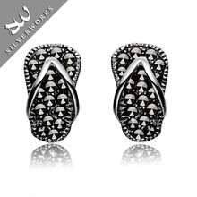 High Quality Thai Silver Colored Stone Stud Earrings,Mens Black Antique Silver Earrings