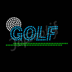Blue Hot Fix Crystal Templates Rhinestone Motif Golf