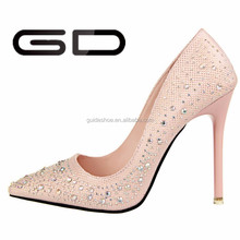 pink pointed toe lady shoes summer rhinestone beautiful high heel shoes