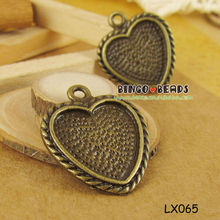 Antiqued Bronze Vintage Alloy Lovely Cute Heart Tray Pandent Charms