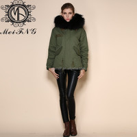 wholesale womens outwears puffer jackets made by genuine fox furs military green parkas