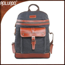 Dark Grey Men Canvas Backpack Leather