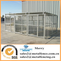 5'X10' metal tube dog kennel with roof shelter&fight guard divider and 3 dog runs