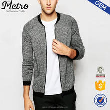 2015 OEM Manufacturer High Quality Custom Men Merino Wool Mix Knitted Bomber Jacket