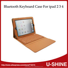 2014 New Hotsale Leather Cover Wireless Bluetooth Keyboard for iPad 1/2/3/4