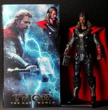 "Super hero action figure 12"" the Dark World Hammer Launch Thor Action Figure PVC Statue Collectible doll"