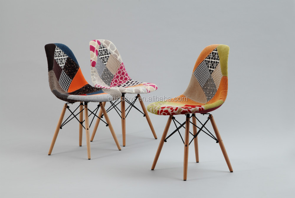 Patchwork fabric side eames dsw dining leisure chair as for Chaise eams patchwork