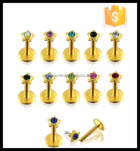 16 Gauge Internally Threaded Gold Plated Labret Monroe Lip Rings Piercing