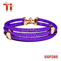 fashion jewelry 2015 purple stingray leather bracelet with rose gold plating clasp