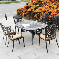 Dining Table Set Cast Aluminum Oval Table with 6 Chairs Durable Furniture
