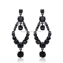 Charming Alloy Black CZ Dangle Latest Trends Earrings