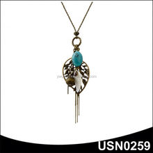 Fashion thin chian multi pendant turquoise special stone necklace
