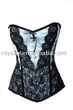 White With Black Lace Overlay Overbust Corset