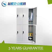 Good quality KD structure 2 tiers 6 door students metal locker with hanger bar