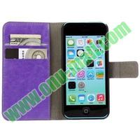 hot selling Crazy Horse Texture wallet flip Leather cover case for iphone 5c