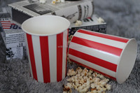 Printed paper popcorn bucket with lid