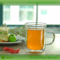 hot Selling double wall glass drinking glass