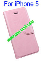 High Quality Magnetic Flip Wallet Genuine Leather Cover Case for iPhone 5 with Credit Card Slots(Pink)