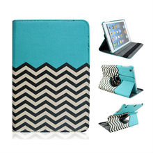 Good Quality Noble Wave Pattern Rotatable Flip PU Leather Cover Case For iPad 2 3 4 with Elastic Belt