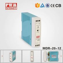 china supplier mdr 20W single output DIN Rail 12v 1.67a ac dc power supply with ce