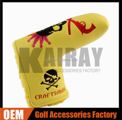 OEM wholesale Personalized Skull Golf Putter Head Cover Case Yellow PU leather Putter Headcovers golf head cover