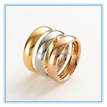 Life Jewlery Simple Design Stainless Steel Tri-Tone Stack Ring Set