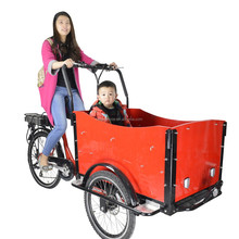 CE Denmark bakfiets family 3 wheel electric cargo tricycle bicycle with cabin for sale