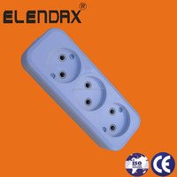 European style 3 way extension socket