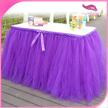 Wholesale fancy wedding, birthday, baby shower, Christmas and party table skirting designs violet ruffled tulle table skirt.