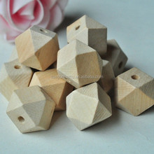 20mm Geometric Shape Wood Carving Beads Unfinished Natural Wooden hollow crafts