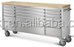 Combination Toolbox with 15 Single drawers; stainless steel body , rubber wood top