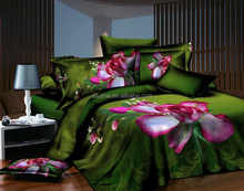natural gree flower design printed fitted quilted queen satin bedspread and curtain set