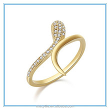 MECY LIFE 2015 Korean version of snake-like micro-fine inlay zircon gold-plated wholesale Hot selling Snake ring with diamond