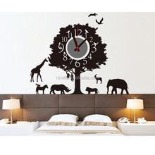 New Fashion Animal Tree Wall Decal Sticker Real Clock DIY Wall Clock For Hoom decoration