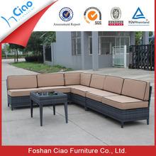 Usado rattan mobiliário sofá em forma de L sofá com