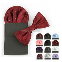 Festival Gift Fashion Pocket Square handkerchief and bow tie Cummerbund Polyester Silk Gift Set For Men