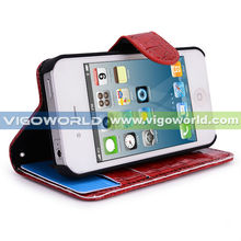 Vigo (Brown) Crocodile Skin Luxury High Quality PU Leather Wallet Case For iPhone 4