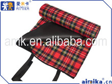 2015 aimika classic design hot sale popular polyester fleece picnic rug for camping classic check mat wholesale
